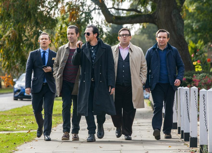 "Left to right, Martin Freeman as Oliver, Paddy Considine as Steven, Simon Pegg as Gary, Nick Frost as Andy, and Eddie Marsan as Peter in ""The World's End."""